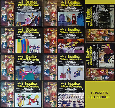 10 affiches exceptionnelle serie complete 1969 Beatles Yellow Submarine Italie