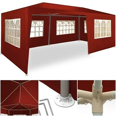 3x6m Garden Pop Up Gazebo Red Canopy Party Sun Shade Awning Wedding Marquee Tent