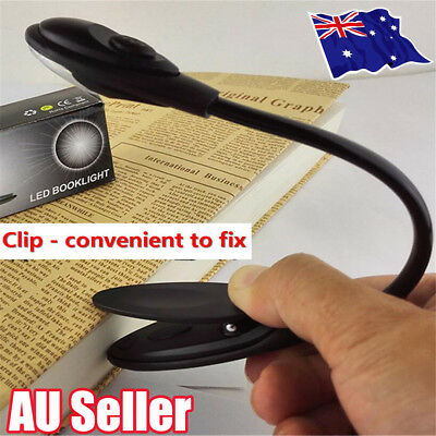 Portable Travel Flexible Neck LED Clamp Clip-On Reading Book Light Lamp UN