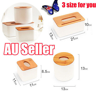Plastic Home Room Car Hotel Tissue Box Wooden Cover Paper Napkin Holder Case NU