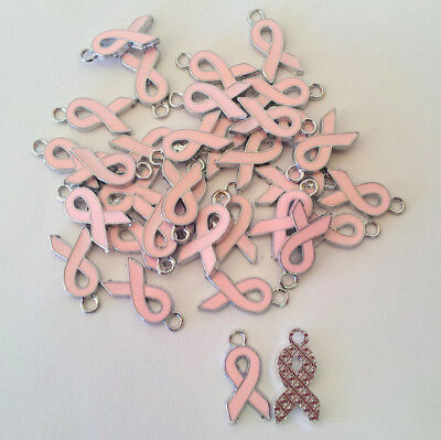 Wholesale Lot 100 Light Pink Breast Cancer Awareness Ribbon Charms Silver DIY