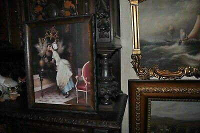 Lovely Salon Painting of young Lady Kissing her Mirror