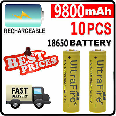 10X 3.7V 18650 9800mAh Li-ion Rechargeable Battery For Flashlight Torch LED