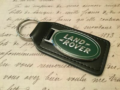 Land  Rover Black Leather Key Ring Fob Heavy Style Green Infill Discovery