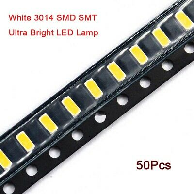 50Pcs 3014 White SMD SMT LED's Ultra Bright LED Lamp Emitting Diode