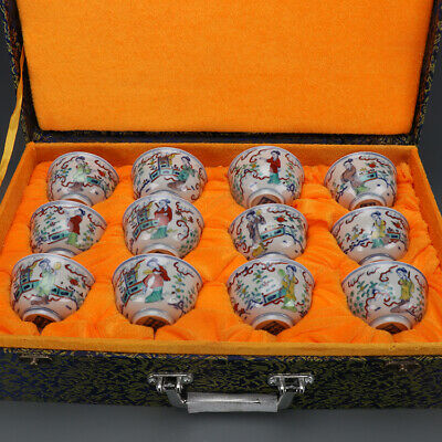 China antique Porcelain famille rose Twelve hairpin character tea cup A Set