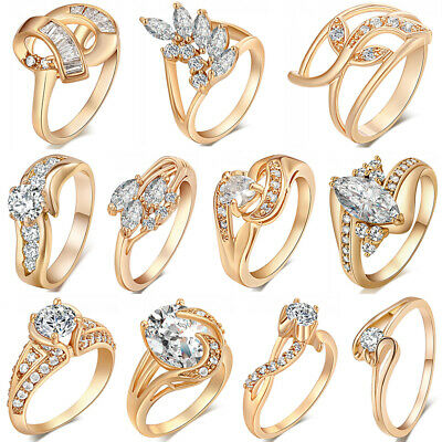 18K Gold Plated Women Rings Diamond Crystal Jewelry Wedding Gift Size 6 7 8 9