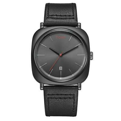TOMI Mens Watches Stainless Steel Dial Leather Strap Date Quartz Wrist Watch