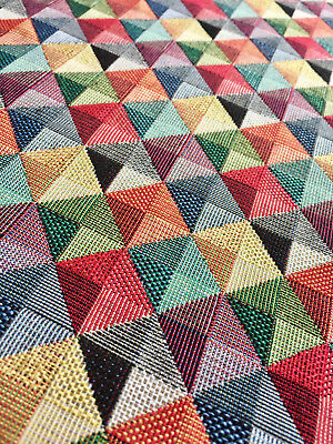 RHOMBUS SQUARES Triangles Gobelin Fabric Material Curtains Upholstery 280cm wide