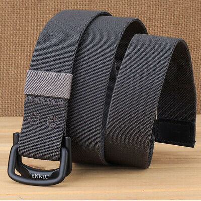 Canvas Fabric Webbing Waist Belt Casual D Ring Plain Canvas Waistband Unisex