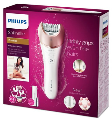 Philips Satinelle Prestige Wet & Dry Epilator for Legs, Body & Face, with 9 Atta