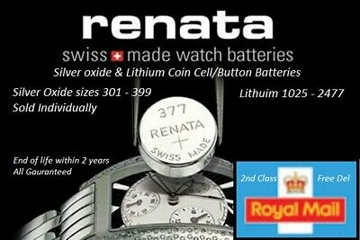 1 X Renata Cell / Watch battery Swiss made silver/Lithium batteries - All Sizes