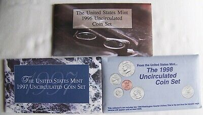 1996, 1997 & 1998 US Mint Uncirculated Coin Sets + 3 FDC's
