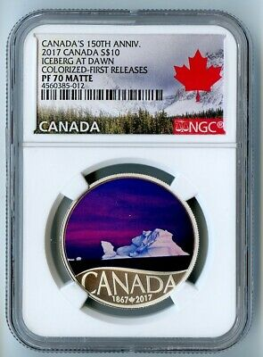 2017 Canada Ngc First Releases Pf70 Matte Silver Colorized-Iceberg At Dawn S$10!