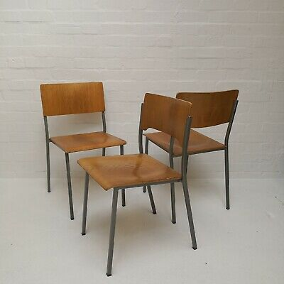 Vintage Mid Century Modern Danish  Wooden Stacking Chairs London (can deliver)