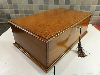 EARLY 20thC WOODEN BOX WITH GREAT CHARACTER - IDEAL SIZE FOR STORAGE- LOCK & KEY
