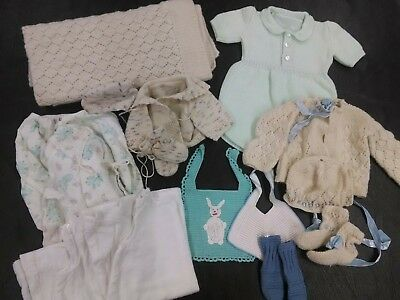 Vintage Baby Clothes, Hand Made Crochet Outfits, Mittens, Bibs, Blanket, Pajamas