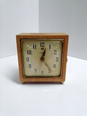 Vintage Telechron Electric Alarm Clock Model 7H209 Maple Fully Working