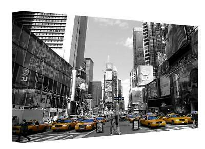 Black White Yellow Taxi's New York City  Painting Canvas Wall Art Picture Print