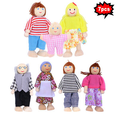 7pcs Sweetbee House Family Flexible Wooden Dolls People Figures Kids Gift Toy