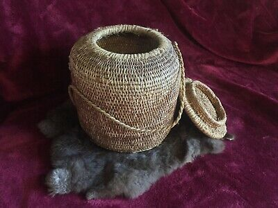 CERTIFIED AUTHENTIC c.1880 NATIVE AMERICAN INDIAN SWEET GRASS WOVEN BASKET W/TOP