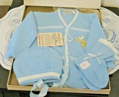 New 1960s Vintage KNITOWN Dupont Orlon Baby Boy Sweater Hat & Booties Set (11)