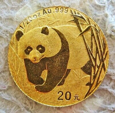 2001 Gold China Sealed 20 Yuan 1/20 Oz Panda Coin