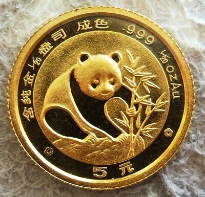 1988 Gold China 5 Yuan Panda 1/20 Oz 24K Coin