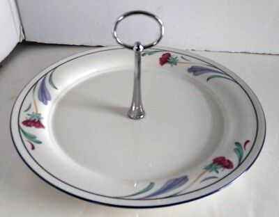 "Lenox Chinastone Poppies On Blue Large 10 3/4"" Tidbit Serving Tray Plate"