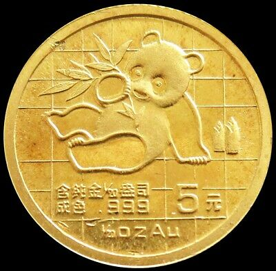 1989 Gold China 5 Yuan Panda 1/20 Oz Coin
