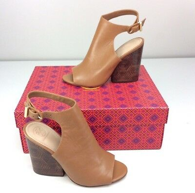 8bb9edf8a56f Tory Burch Grove 100mm Open Toe Boot Bootie Block Heels Tan Brown Leather  7.5
