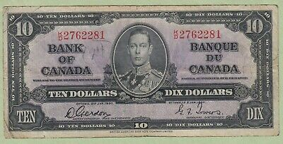 1937 Bank of Canada10 Dollar Note - Gordon/Towers - K/D2762281 - Fine (Graffiti)