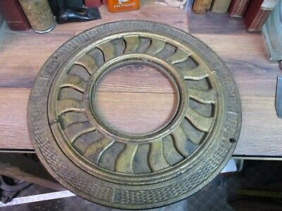 ANTIQUE HEAT VENT round cast iron ornate ceiling grate register early 1900's 16""