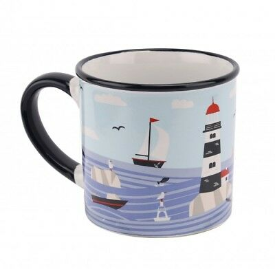 2 x Ceramic Mug Finest Catch Sea Design Colourful Nautical Cup