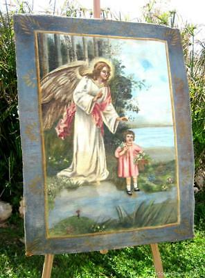102cm Tapiz Pintado . Antigua pintura Angel de la Guarda o Custodio
