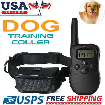 100LV 300Meter Remote LCD Pet Dog Training Electric Shock Vibration Collar US EN
