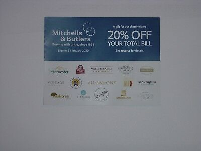 FREEPOST Restaurant Voucher 20% OFF TOTAL Mitchells & Butlers to 31.01.20