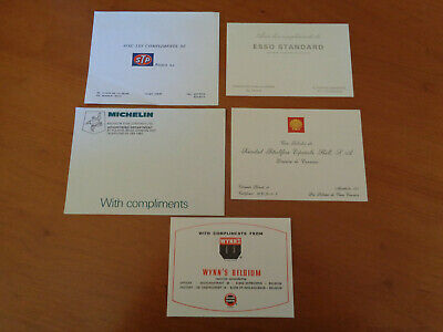 Set of 5 Vintage With Compliments Cards Esso STP Michelin Shell Wynn's 70's