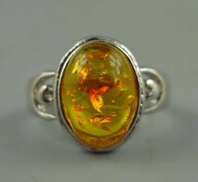 AAA Collect Decor China Fine Tibet Silver Carve Inlay Amber Resin Rare Ring Gift