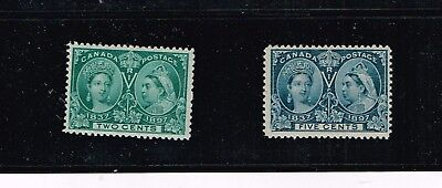 Canada 1898 Queen Victoria Jubilee Issue 2 c & 5 c Sc# 52,54 Mint Never hinged