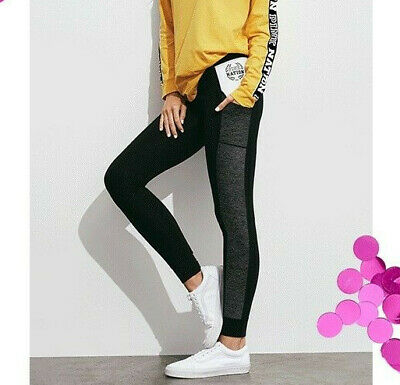 78d37ecf76faa6 VICTORIAS SECRET PINK Campus Leggings Ankle cuff Slim fit joggers pant  Black L