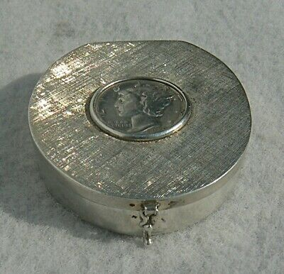 STERLING SILVER PILL or SNUFF BOX 1936 MERCURY DIME IN LID
