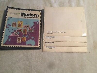 Modern World Stamp Album And 4 Mint Sets