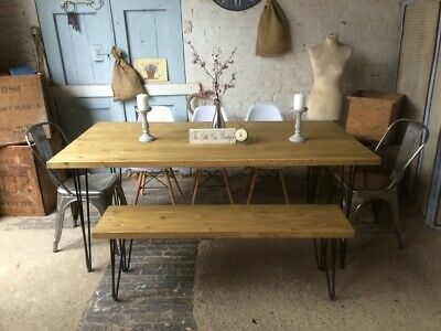 180 x 90 Industrial dining room table with hairpin legs and a bench and 5 chairs