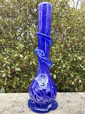 Hookah Water Pipe Heavy Glass Bong 12 inch Smoking Pipe Beautiful Blue Bongs