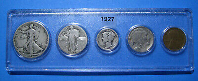 1927 US Coin Year Set 5 Coins 90% Silver