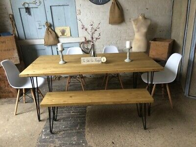 150 x 90 Industrial dining room table with hairpin legs and a bench and 4 chairs