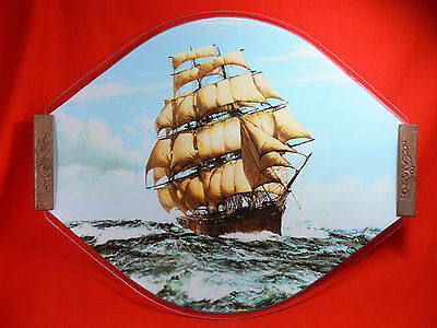 Vintage Glass SAILING SHIP Serving Tray with Wooden Handles - RETRO COLLECTABLE