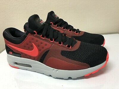 more photos 86ad8 f99e9 NEW Nike Air Max Zero Essential Black Red Running Shoes Men Size 11.5 876070 -600
