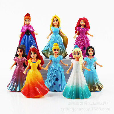8 Princess Belle Merida Cinderella Snow White Anna Elsa MagiClip Barbie Toy Doll